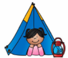 Girl laying in a tent with her head sticking outside of the tent